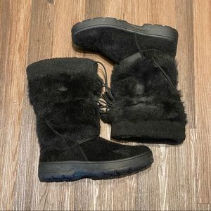 LL Bean Faux Fur Black Pull On Winter Snow Boots